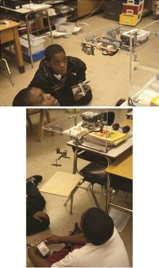 Two photos: In both, students are conducting the activity in a classroom, focused on the mechanized motion of the gears and pulley-assisted platform.