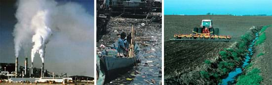 Three photographs show tall power plant towers spewing white clouds of exhaust, two boys floating in a small boat in Minimata Bay in Japan surrounded by water heavily laden with trash and debris, a tractor plowing a field in Iowa next to a small stream with no conservation buffers.