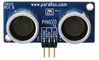 A blue device with what looks like two round speakers and a three-prong pin connector.