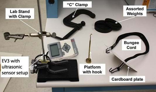 "Photo shows EV3 with ultrasonic sensor set-up, lab stand with clamp, ""C"" clamp, assorted weights, bungee cord, cardboard plate, and platform with hook."