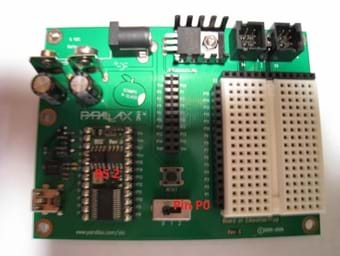 Photo shows a circuit board with a BS2 in the lower left side of the board.