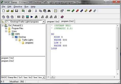 A screenshot showing the program used to flash an LED for 0.5 seconds repeatedly.