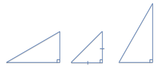 A diagram of three right triangles with sides of different lengths.