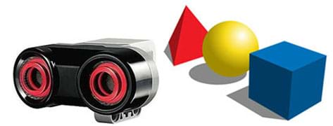 (left) A photograph shows a palm-sized device that has two round openings. (right) A drawing shows three shapes: red pyramid, yellow sphere, blue cube.