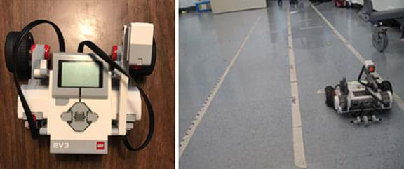 Two photos: An overhead view of a plastic table-top device with wheels, wires and buttons. A view of a linoleum floor with three long stretches of masking tape each marked with different units.