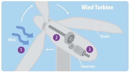 A diagram of a wind turbine identifies its main components: rotor, rotor blade, shaft, electric generator, gearbox and tower.