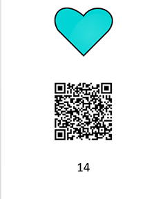 A graphic of a Word document with a teal clipart heart symbol, QR code, and the number 14, all vertically aligned.