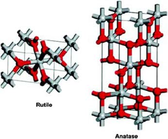 Two geometric rectangles with red and gray accents and outline representing the molecular structure of a titanium dioxide nanoparticle.