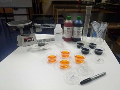 A photograph of all materials needed for the lab activity laid out on a table.