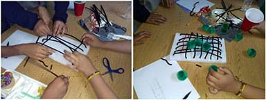 Two images showing students working on their models.