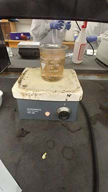 A beaker with red colored water and plant parts is on a hot plate.