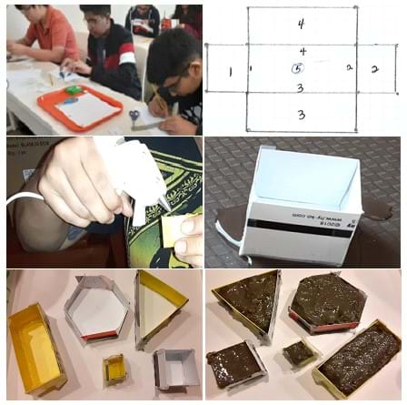A collage of students working on their prototypes in the classroom. Images including a sketch, a student using a glue gun, molds, and then the final prototypes.