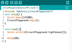 A screenshot shows code on a computer for printing data from a light sensor to the screen.