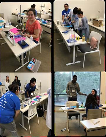 Top left photo shows a high school student measuring hydraulic flow rate. Top right photo shows three teens measuring biochar on a triple beam balance.  Bottom left photo shows three students observing hydraulic flow rate. Bottom right photo shows three teenagers presenting their findings.