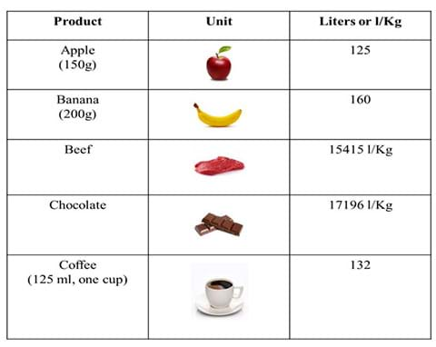 A table lists five food products (apple, banana, beef, chocolate, coffee) with the number of liters of water needed to produce each. For example, 150-g apple requires 125 liters of water, and a 200-g banana requires 160 liters of water.