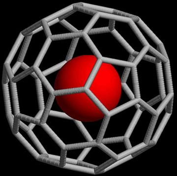 An artistic rendering of a noble-gas atom caged within a C60 molecule.
