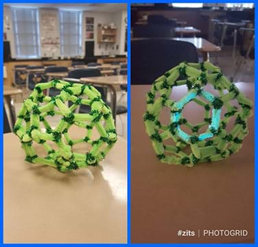 The left panel shows a buckyball made from light and dark green pipe cleaners.  The panel on the right shows the same buckyball with a central hexagon glowing in the darkened room.