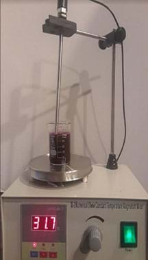 Figure shows an instrument with heating, temperature control and magnetic stirrer used to prepare hydrogel gummy snacks.
