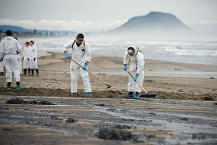 A photograph shows six people in white coveralls using rakes and hoes to clean Papamoa Beach in New Zealand after an oil spill reached the sandy shore from the grounded ship Rena.