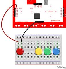 A wiring diagram shows a breadboard with four pushbuttons (red, yellow, green, blue) placed across its gap, and a MaKey MaKey. Two wires connect the red button to the MaKey MaKey: a red wire to D4 and a black wire to earth.
