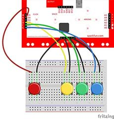 A wiring diagram shows a breadboard with four buttons and MaKey MaKey (same as Figure 5), plus wires that also connect the yellow, green and blue buttons to the MaKey MaKey. The four colored button wires go to D4, D2, D1 and D0, and black wires to earth.