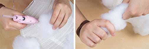 Two photographs: A hand holds a hot glue gun while another hand presses a handful of white polyfil (pillow filling) to a white paper lantern, which is a thin white paper skin over a coiled wire structure. Two hands twist the fibers of a handful of polyfil stuffing before gluing it on the paper lantern structure.