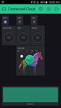 A screen capture from a smartphone shows the final widget setup in the Blynk app. Icons are shown for WTH, RGB, DCO, weather (V0), RGB (V2), disco (V4) and ZERGBRA (V8).