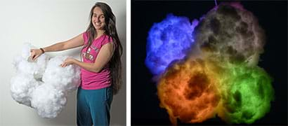 Two photographs: A woman holds a finished cloud light fixture structure, which looks like five white fluffy balls loosely joined together to resemble one large cloud. A glowing multicolored cloud light fixture in a dark room; the cloud is roughly composed of glowing gray, red, blue and green quadrants.