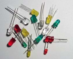 A photograph shows 16 LEDs on a counter—assorted sizes and colors.