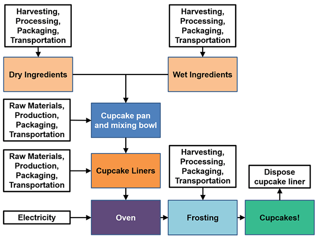 A flow diagram shows all of the inputs for each step of the cupcake life cycle. Both wet and dry ingredients and the frosting have energy and greenhouse gas emissions from planting, harvesting, processing, packaging, and transportation. The cupcake pan, mixing bowl, cupcake tin and cupcake liners have energy and greenhouse gas emissions from the raw materials, production, packaging and transportation. The oven needs electricity (or gas) to bake the cupcakes, and after the cupcakes have been eaten, the liner needs to be disposed of (waste).