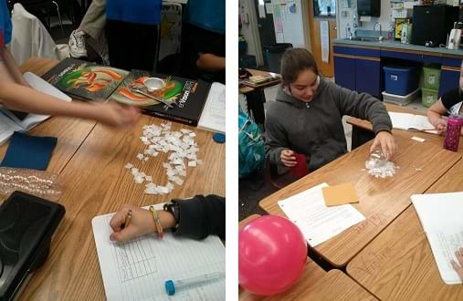 Two photographs show students working at tables actively engaged in the activity, holding objects over paper confetti and writing down data in a table.