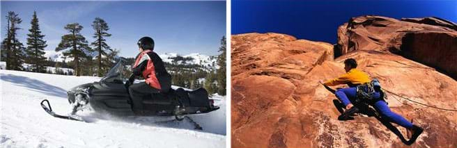 Two photographs: A person drives a snowmobile over packed snow in a wooded area. A rock climber crawls across the stone face of a mountain wearing high-grip climbing shoes.