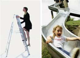Two photographs: A woman climbs up a ladder. A girl slides down a playground slide.