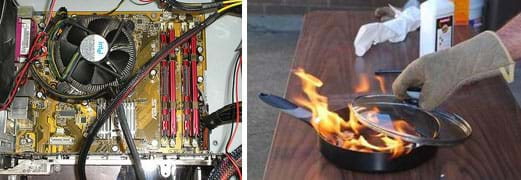 Two photographs: A cooling fan inside the box of a computer processor. A hand protected by an oven mitt puts a lid on a saucepan filled with red flames.