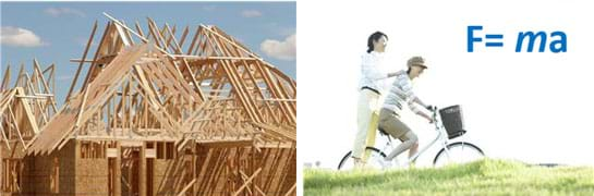 Two photographs: Houses under construction—a mass of wooden boards interconnected with each other to create rooms and roof structures. Two friends riding a bicycle, one seated and steering, the other straddling the back wheel, standing on the hub.
