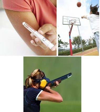 Three photographs: A woman administers an insulin shot to her own arm. A girl shoots a basketball into an outside basketball hoop. A woman with ear protection fires a rifle at a shooting range.