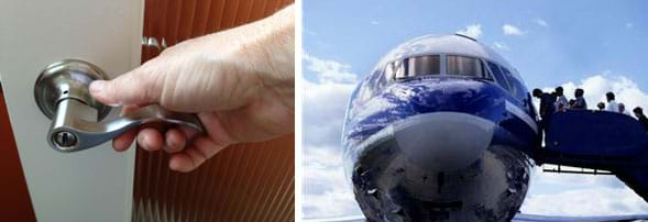 Two photographs. A hand reaches for a modern, stainless steel lever-shaped door knob. A head-on view of a sleek airplane with passengers entering from a stairway on one side.