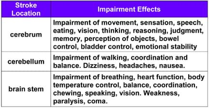 A table lists three stroke locations (cerebrum, cerebellum and brain stem) and example impairment effects for each. For example, for cerebellum: Impairment of walking, coordination and balance; dizziness, headaches, nausea.