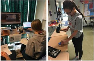 left: Students examine a de-calcified chicken bone sample using a force sensor and a microscopic camera. right: A female student uses a rubber mallet and a punch set to make a cylindrical foam sample.