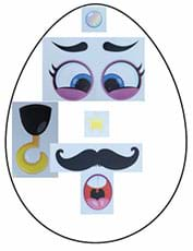 An outline of an Easter egg with the following stickers applied:  round purple eyes, oval mouth, star nose, bubble on top of egg, left hook arm and handlebar mustache.
