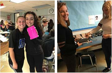 Left: two female students stand and display their pink shin guard prototype. Right: two female students stand at a counter attaching elastic straps to their shin guard prototype.