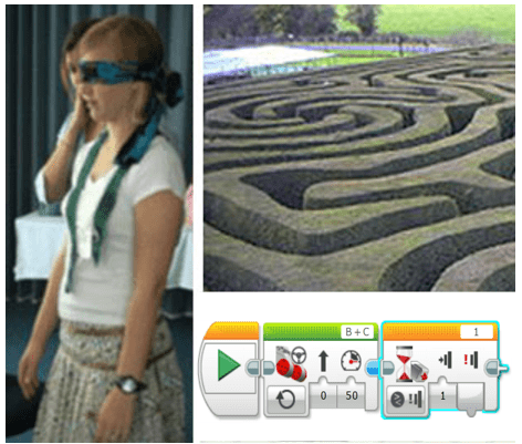 Three images: A blindfolded girl stands with arms at her sides. A photograph above a garden walkway maze made of tall hedges. A screen capture shows a few LEGO programming icons.