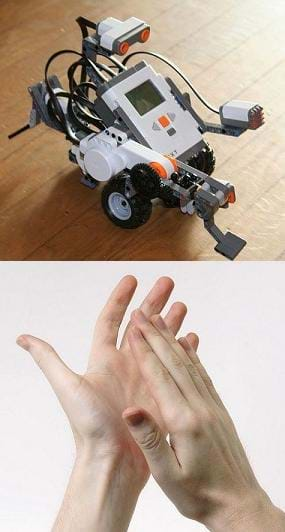 Two photographs: A LEGO MINDSTORMS NXT robot composed of a brick-sized computer and a servomotor, ultrasonic sensor and sound sensor, all on wheels—a small robot of plastic cases, parts, buttons and cables. A photo shows two hands clapping.