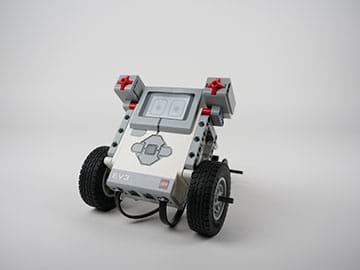 A photograph of an assembled LEGO MINDSTORMS EV3 robot.
