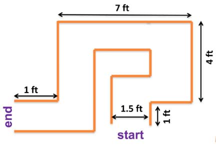 A line drawing shows a 1.5-foot wide maze route that takes up an 8 x 5-foot footprint through five turns (right, left, left, left, right) from start to end.