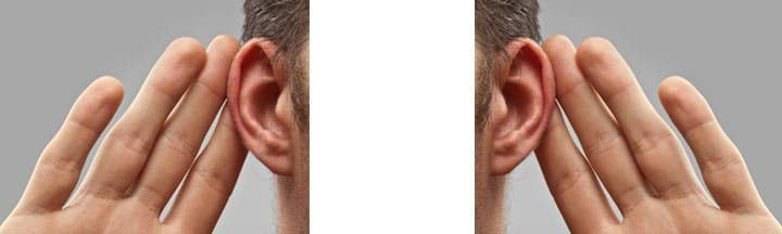 Two identical but inverted photos shows open an open hand placed behind each ear, as if to help direct sound waves into the ears.