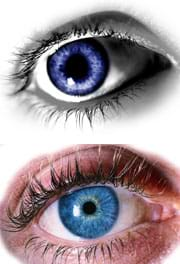 Images of two blue human eyes, one with a small pupil and the other a much larger pupil.