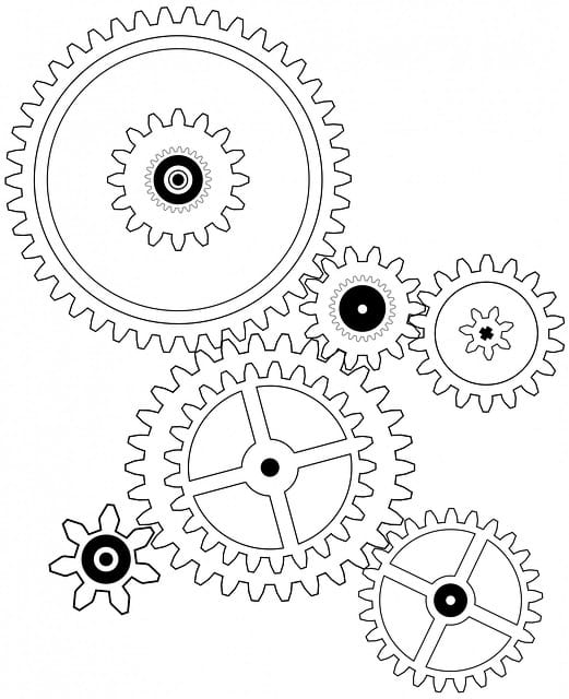 A graphic showing various gears and wheels of different sizes.