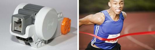 Two photos: A palm-sized white, gray and orange plastic device ( a LEGO motor) with a cord port opening. A track athlete shows extreme effort as he reaches a red ribbon finish line.