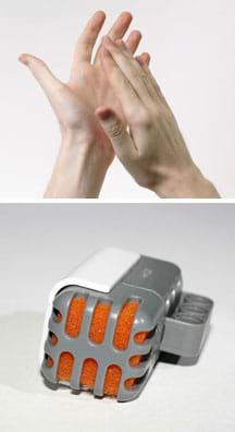 Two photos: Two hands clapping. A palm-sized gray and white plastic oblong box-shaped device with cut-out openings on one side, filled with orange foam material (a LEGO sound sensor).